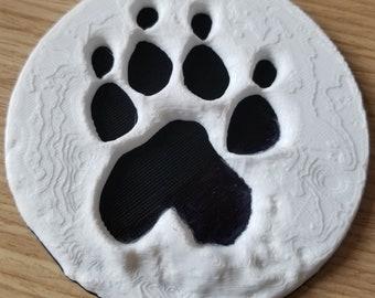 Pet Paw Print 3D Printed Reproduction // Keepsake  // Dog or Cat Ornament