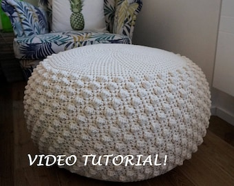 Prime Crochet Pattern Diy Tutorial Large Crochet Pouf Poof Ottoman Machost Co Dining Chair Design Ideas Machostcouk