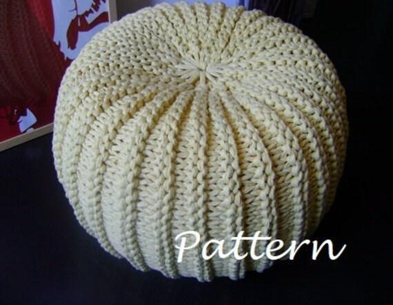 Knitting Pattern Tutorial Xxl Pouf Poof Ottoman Footstool Etsy