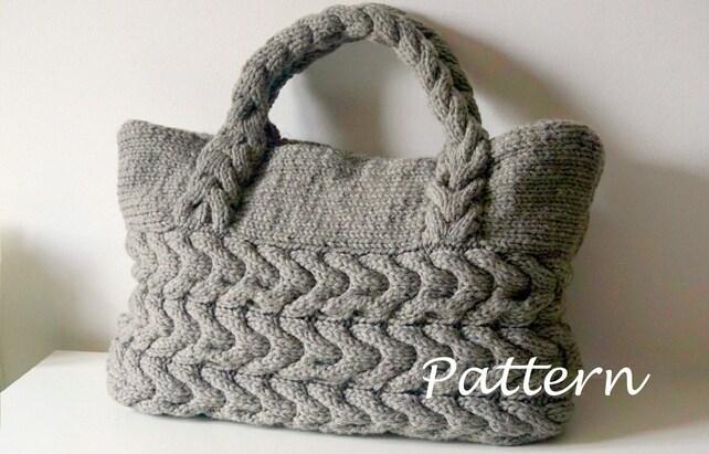 Knitting Pattern Cable Bag Knitting Pattern Knit Bag Pattern Etsy