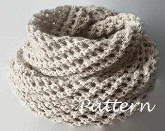 KNITTING PATTERN Long Knit Infinity Scarf Pattern Eternity Scarf Knitting Pattern Knitting Scarves Pattern Cowl scarf Pattern Knitting