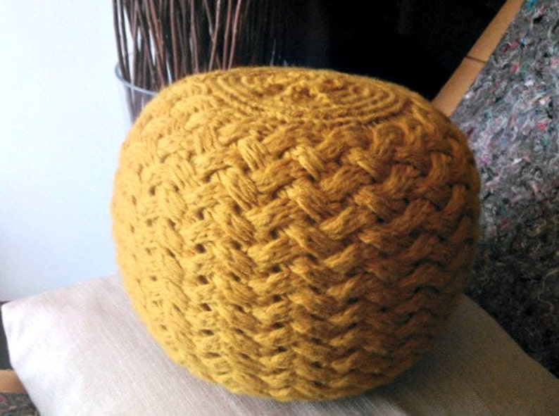 KNITTING PATTERN Knitted Pouf Pattern Poof Knitting   Etsy
