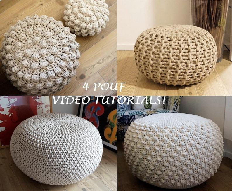 Video Tutorial 4 Knitted Crochet Pouf Floor Cushion Etsy