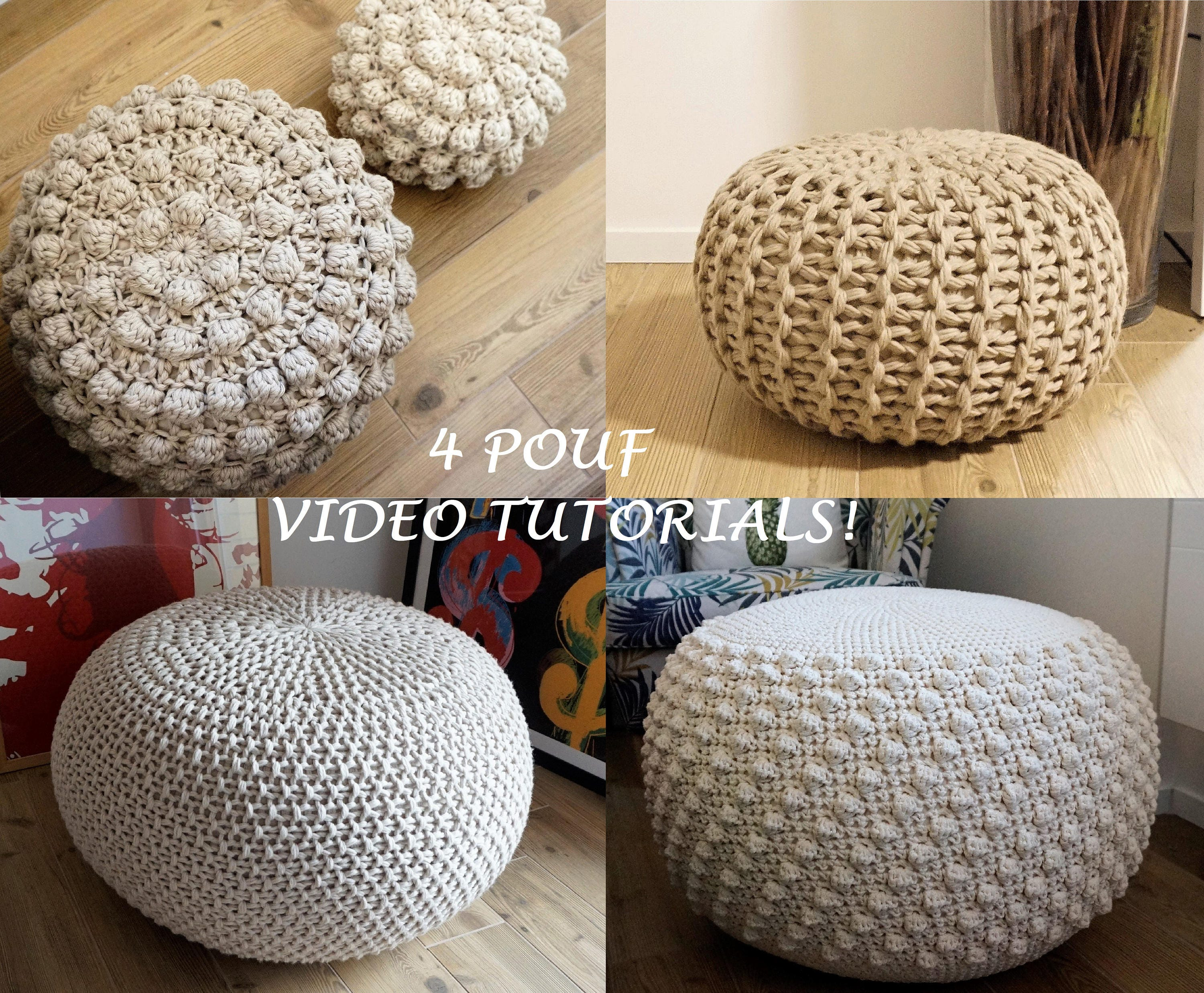 Video Tutorial 4 Knitted Crochet Pouf Floor Cushion Etsy