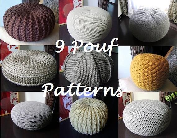 Crochet Pattern Knitting Pattern 9 Knitted Crochet Pouf Etsy