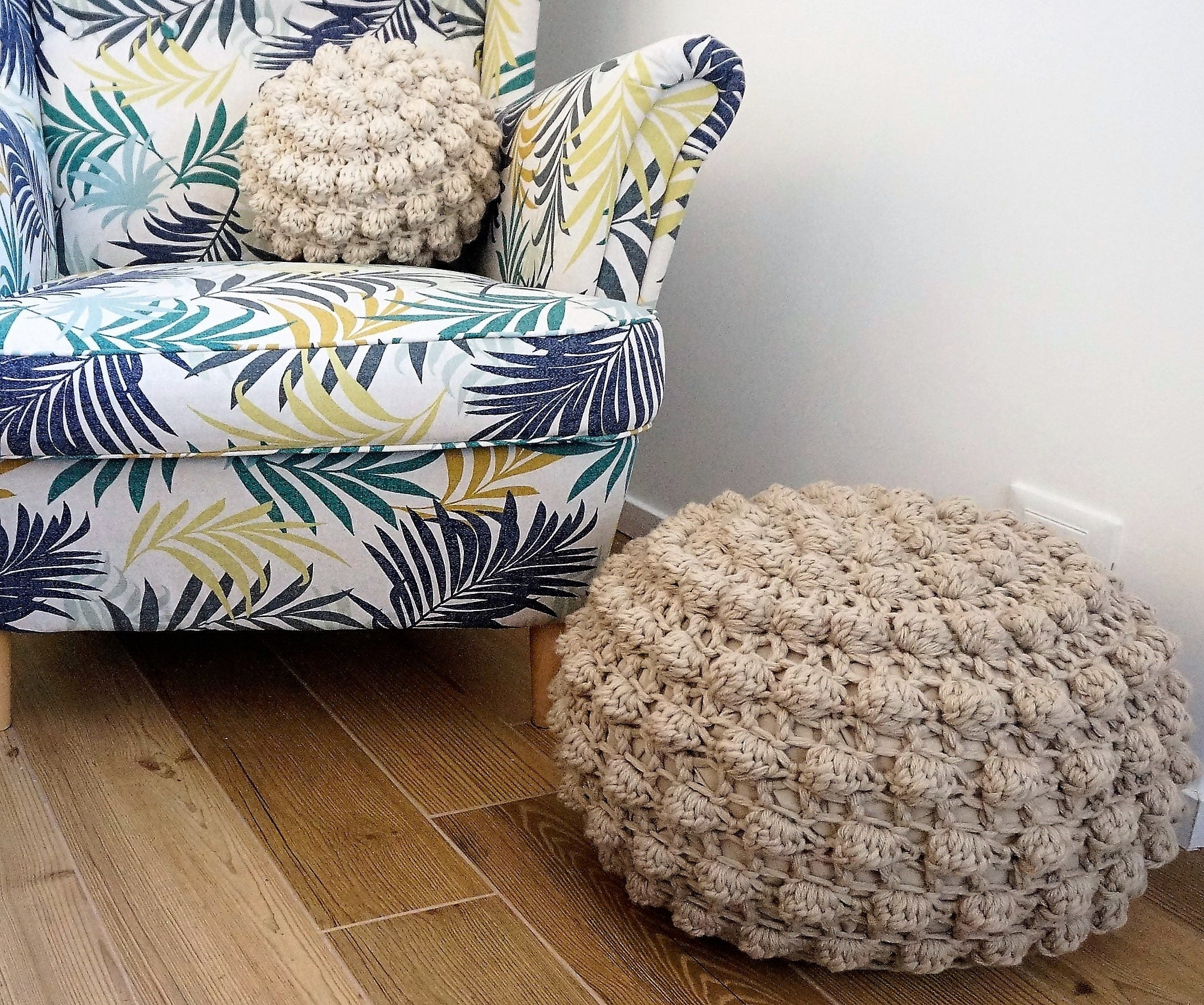 CROCHET PATTERN Video Tutorial Diy Tutorial XL Large Crochet Pouf ...