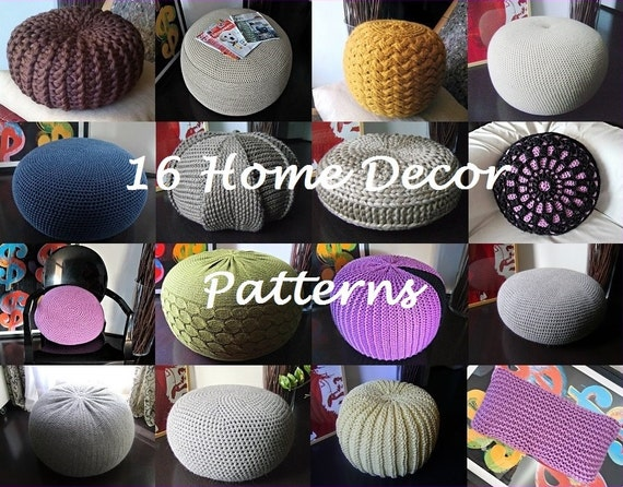 Knitting Pattern 16 Knitted & Crochet Pouf Floor cushion Patterns ...