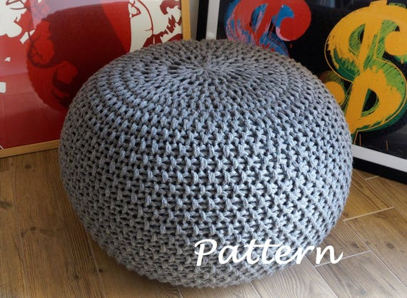 KNITTING PATTERN Knitted Pouf Pattern Poof Knitting Ottoman Etsy Awesome How To Knit A Pouf Cover