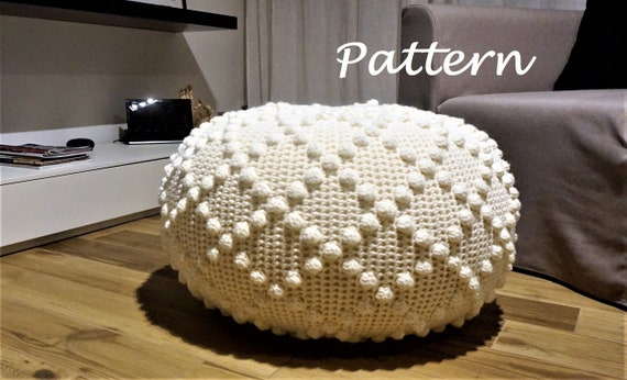 Terrific Crochet Pattern Diy Tutorial Large Crochet Pouf Poof Ottoman Footstool Home Decor Pillow Bean Bag Floor Cushion Crochet Pattern Squirreltailoven Fun Painted Chair Ideas Images Squirreltailovenorg