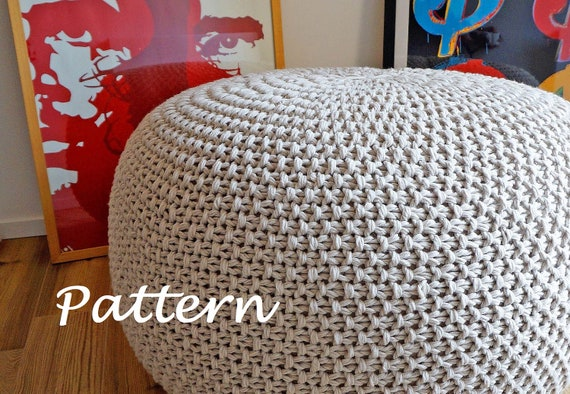 KNITTING PATTERN Knitted Pouf Pattern Poof Knitting Ottoman Etsy Simple Knitted Floor Pouf Pattern