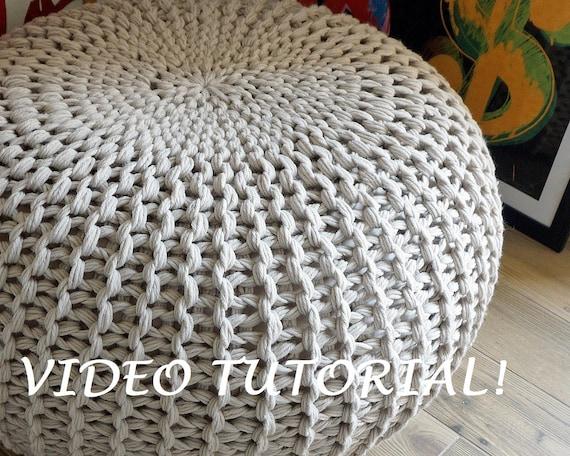 KNITTING PATTERN Knitted Pouf Pattern Poof Knitting Ottoman