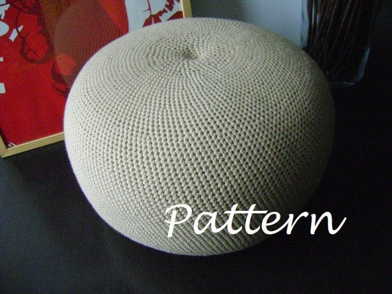 CROCHET PATTERN DIY Tutorial Large Crochet Pouf Poof, Ottoman ...