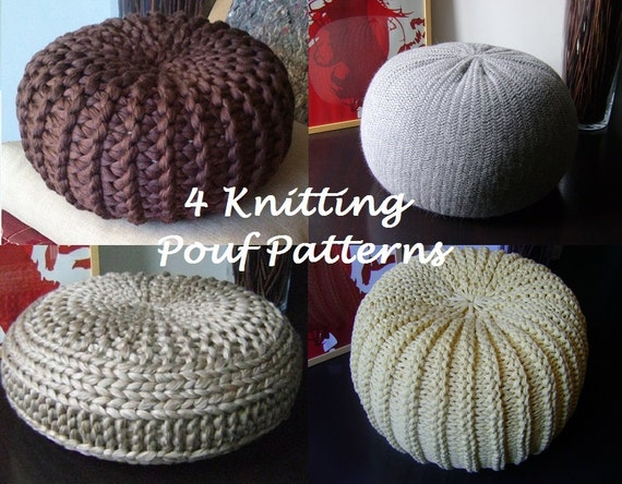 KNITTING PATTERN 40 Knitted Pouf Floor Cushion Patterns Etsy Classy How To Knit A Pouf Cover