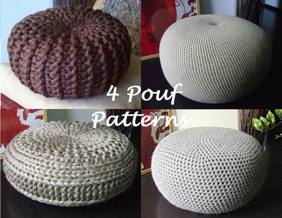 CROCHET PATTERN 40 Knitted Crochet Pouf Floor Cushion Etsy Best How To Knit A Pouf Cover