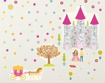 Princess Wall Stickers. Princess Wall Decals, Wall Stickers For Girls Room,  Fairy Tale Wall Stickers, Castle Wall Sticker, Girls Wall Decals