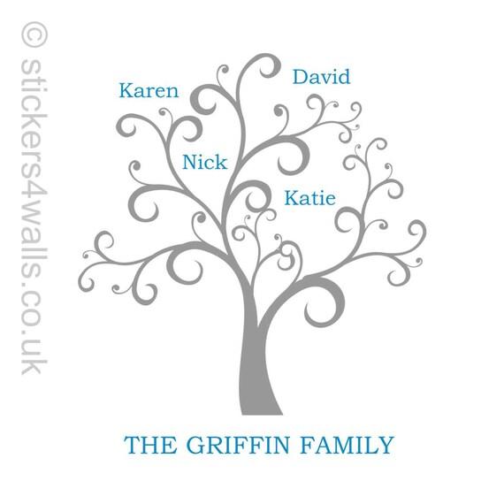 family tree wall sticker personalised family tree wall decal | etsy