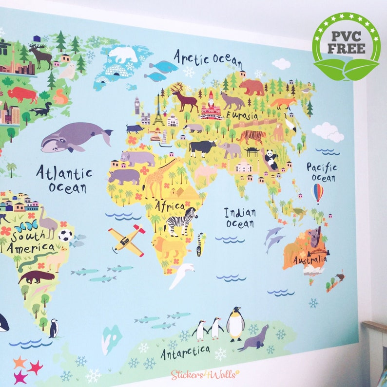 World Map Wall Sticker for Kids, Map of the World Fabric Wall Graphic, Kids  World Map Wall Art, World Map Wall Decal for Kids, World Map Art