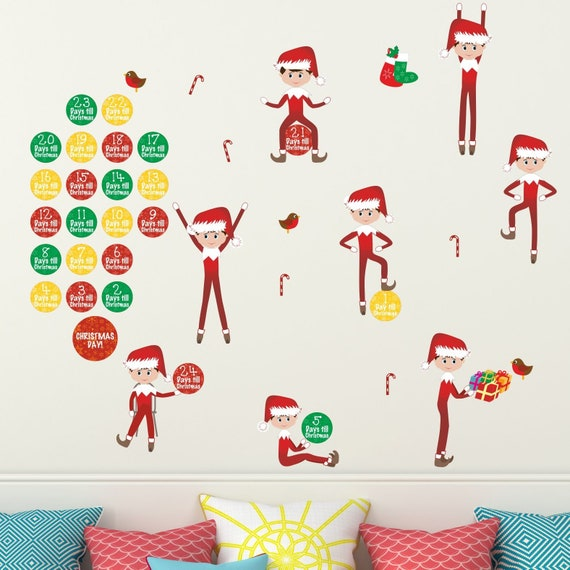 christmas elves wall sticker christmas decorations for kids | etsy