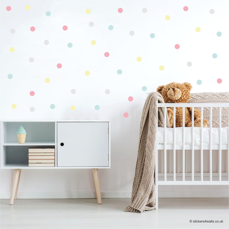 polka dot wall stickers polka dot wall decals dotty nursery | etsy
