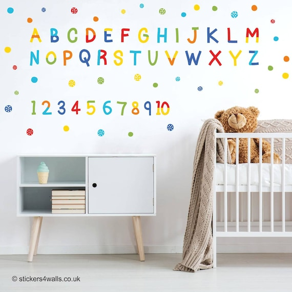 Alphabet Wall Decals Alphabet Wall Stickers Number Wall   Etsy
