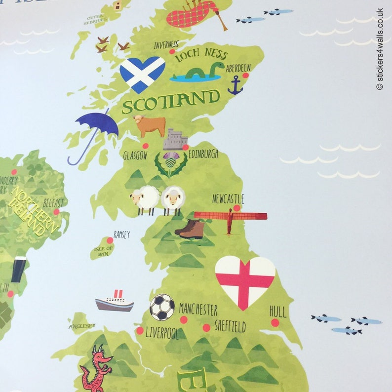 Kids Map Of England.British Map Wall Sticker For Kids Uk Map Fabric Wall Graphic Etsy