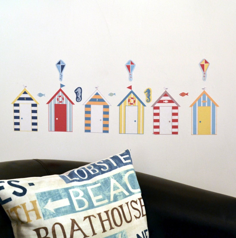 Reusable Beach Hut Fabric Wall Stickers Seaside Themed Wall image 0
