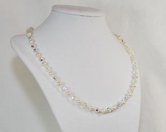 Beautiful Genuine Pearl & Swarvoski Crystal Beaded Necklace, Great for a Bride!