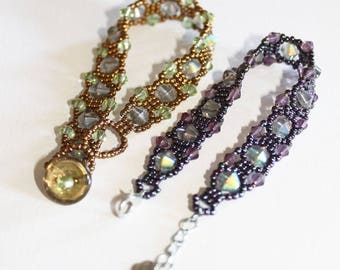 Victorian bracelets one bronze one purple with bicones
