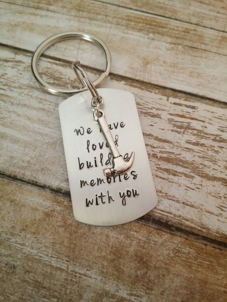 hammer,sentimental gift man/'s gift Key Chain hand stamped dad gift funny gift Carpenter gift personalized gift husband gift