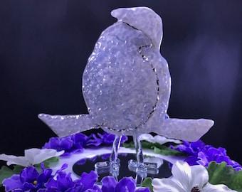 Wedding Glass Love Birds Cake Topper Wedding Fused Glass