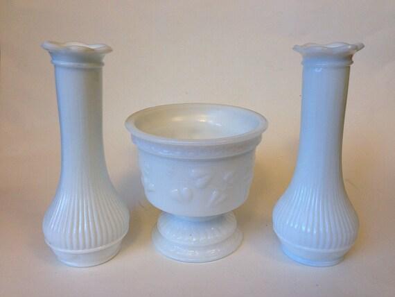 Randall Milk Glass Vases And Planter Etsy