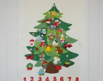 Christmas Tree Advent Calendar with 24 Ornament, Personalized Christmas Advent Calendar, Christmas Tree Felt Decoration, christmas countdown
