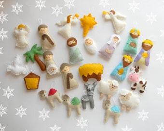 Nativity christmas ornament set 24 christmas Ornaments Nativity scene Nativity advent calendar Baby Jesus  Mary Joseph Shepherd