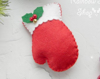 Mitten Christmas ornament Felt mitten Christmas ornament Red felt christmas ornament Christmas decorations