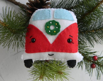 vw bus christmas ornament kawaii bus felt ornament vw combo decoration caravan ornament camping ornament happy camper christmas decoration - Christmas Camper Decoration