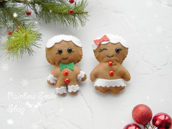 3 Gingerbread Cookie Candy Christmas Ornaments Star Tree Mitten