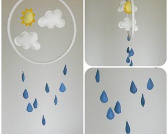 Rain Cloud mobile - turquoise blue and white - Felt sun clouds rain,  nursery decor- raindrops mobile-modern baby mobile-nursery hoop art
