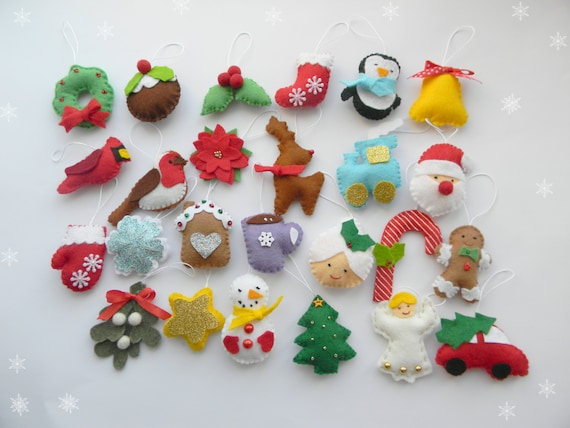 Christmas felt ornaments set 25, advent calendar ornaments, tree ornament,  Christmas decor, christmas tree decor - Christmas Felt Ornaments Set 25 Advent Calendar Ornaments Etsy