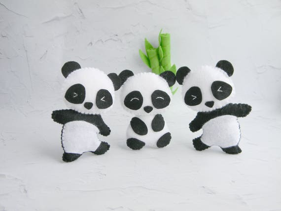 Cute Panda Felt Ornament Panda Bear Toy Panda Theme Nursery Etsy