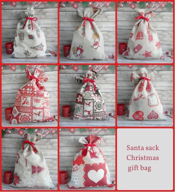 Santa Sack Scandinavian Christmas Gift Bag Reindeer | Etsy