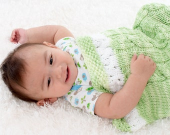 Hand Knit Baby Cocoon, Unisex Baby Blanket, Green and White, Cable Knit, 100% Cotton