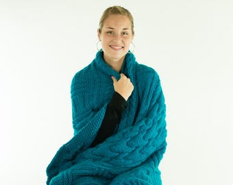 Hand Knit Alpaca Blanket, Afghan, Throw, Cable Knit, Turquoise Teal, Alpaca Wool Mix