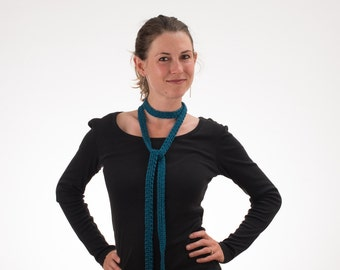 Skinny Scarf, Boho Scarf, TURQUOISE TEAL, Silk and Bamboo