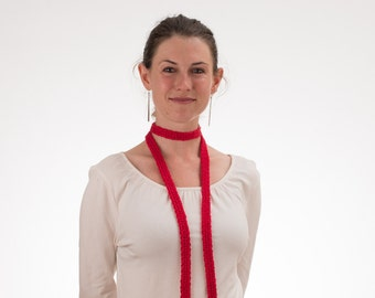 Long Thin Scarf, Skinny Scarf, CHERRY RED, Silk and Bamboo