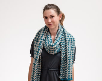 Knit Scarf and Wrap, Prayer Shawl, Teal and Cream, Pure New Wool, Mosaic Design, Hand Knit