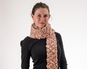 Super Long Knit Scarf, Rust and Cream, Chunky Knit, Wool and Acrylic
