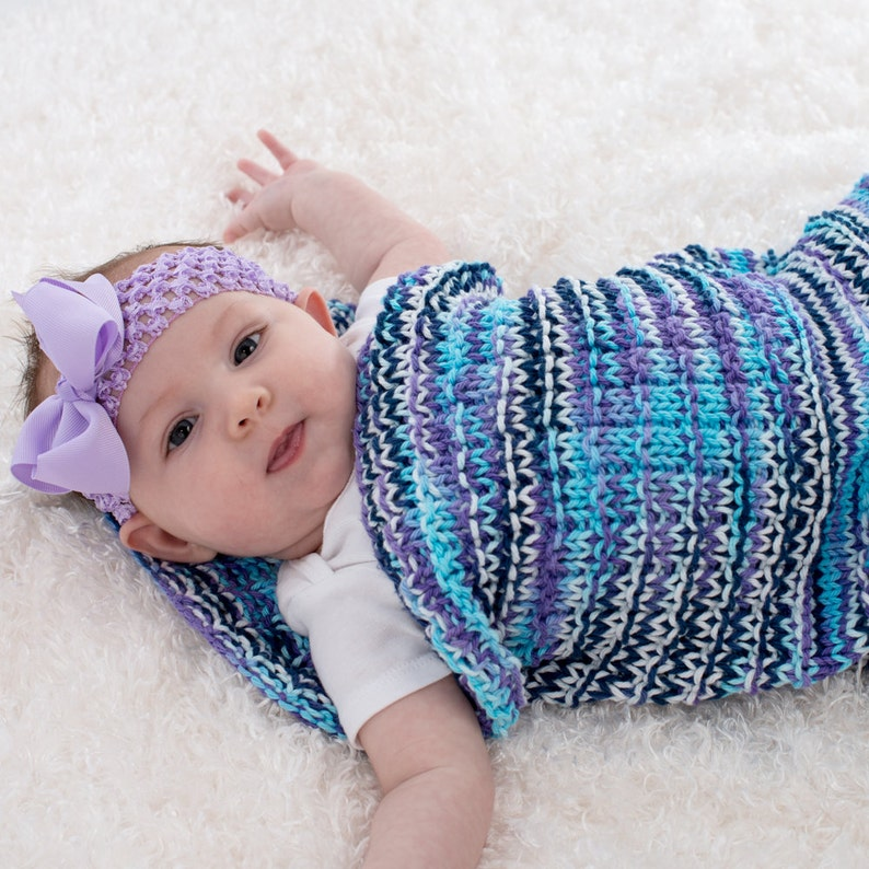 Hand Knit Baby Blanket Baby Cocoon Hand Knit Purple Blue image 0