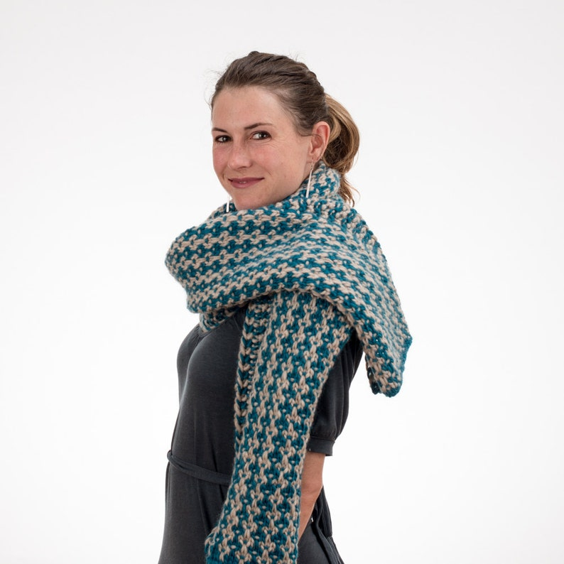 Knit Wrap and Scarf Teal and Cream Pure New Wool Mosaic image 0