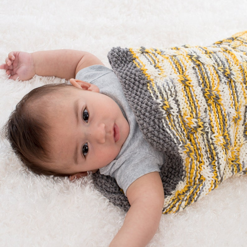 Unisex Baby Blanket Baby Cocoon Hand Knit Yellow and White image 0