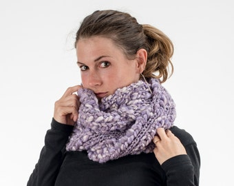 Super Long Chunky Knit Scarf, Purple and White, Wool and Acrylic